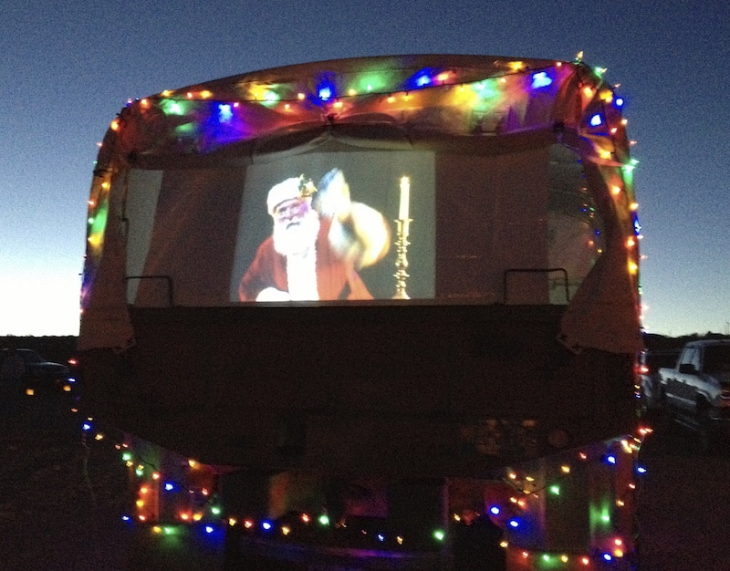 Santa on an RV at the Elephant Butte Luminaria Beachwalk
