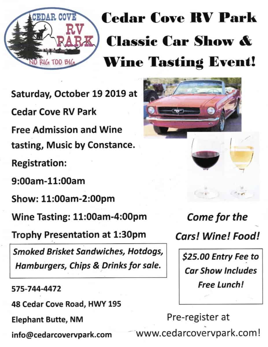 Cedar Cove RV Park 2019  Car Show and Wine Tasting